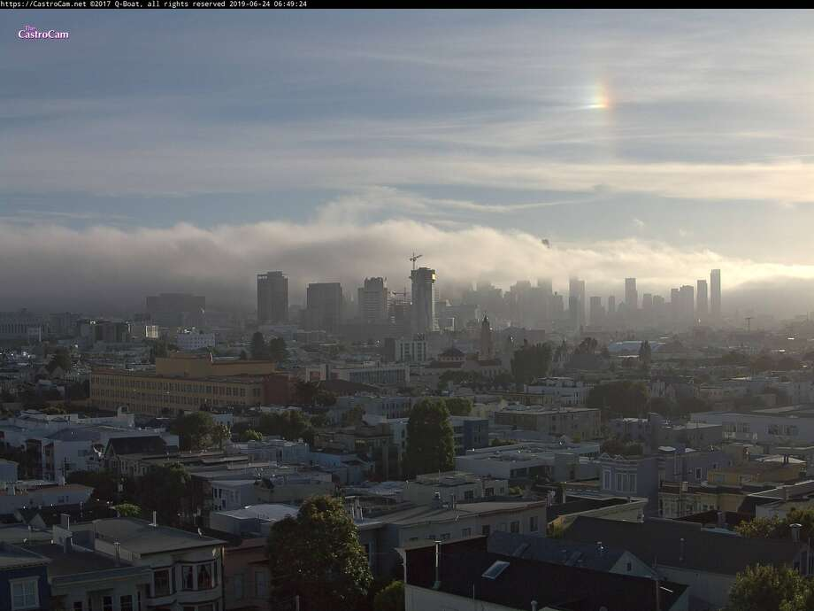 A sundog appeared in the high clouds over San Francisco on Mon., June 24, 2019. Photo: Castro Cam / NWS
