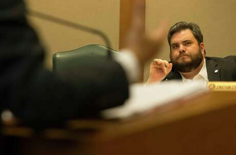 Rep. Jonathan Stickland listens to Rep. Diego Bernal present his House Bill 192 that would prohibit housing discrimination based on sexual orientation or gender identity during the House Business & Industry Committee at the Texas Capitol in Austin, Monday, April 17, 2017. (Stephen Spillman / for Express-News)