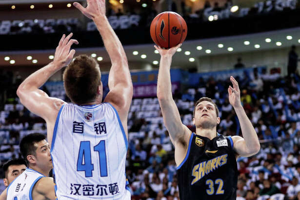 Jimmer Fredette of Shanghai Sharks in action during Chinese Basketball Association (CBA) League 2018/2019 Beijing Ducks v Shanghai Sharks - 2018/2019 CBA League at Cadillac Center on March 16, 2019 in Beijing, China.