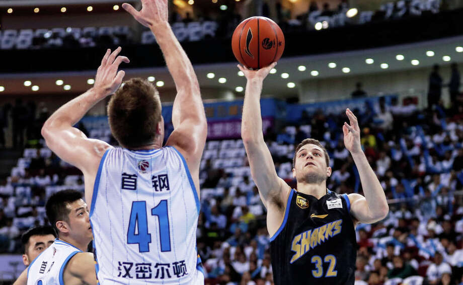 Jimmer Fredette of Shanghai Sharks in action during Chinese Basketball Association (CBA) League 2018/2019 Beijing Ducks v Shanghai Sharks - 2018/2019 CBA League at Cadillac Center on March 16, 2019 in Beijing, China. Photo: Fred Lee / Getty Images / 2019 Fred Lee