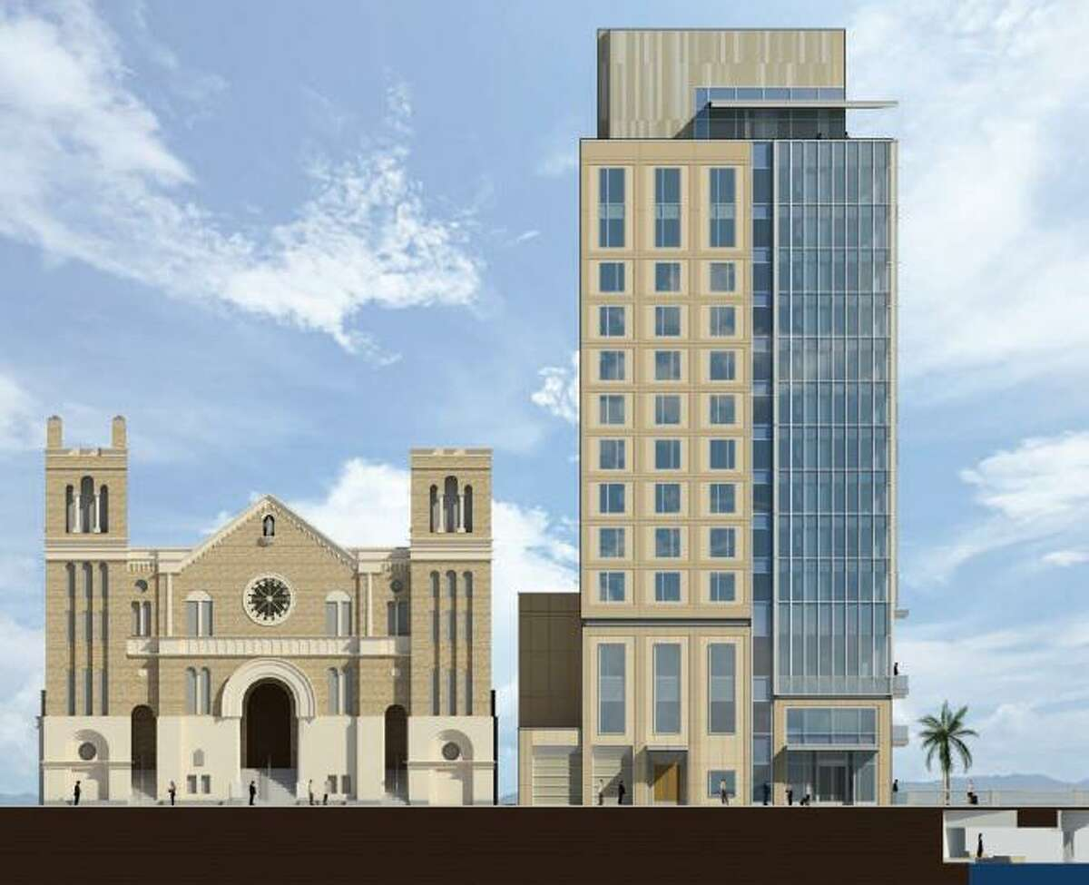 The city's Historic and Design Review Commission gave the green light recently to plans to build a 14-story hotel next to St. Mary's Catholic Church downtown and to tear down its rectory.