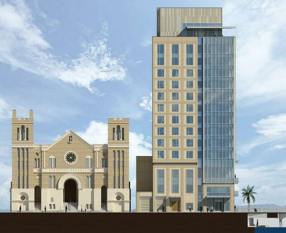 The city's Historic and Design Review Commission gave the green light recently to plans to build a 14-story hotel next to St. Mary's Catholic Church downtown and to tear down its rectory. Photo: Illustration Courtesy Of Hornberger + Worstell