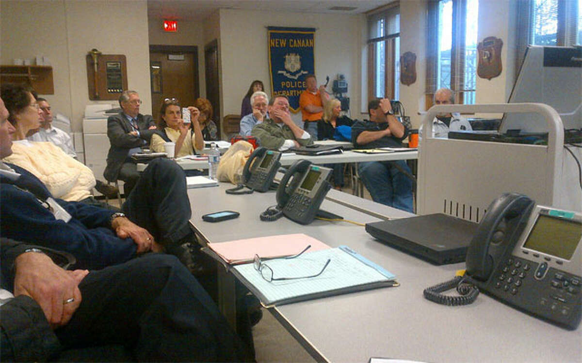 New Canaan officials met in the Emergency Operations Center at the police department on Friday for a briefing on Hurricane Sandy.