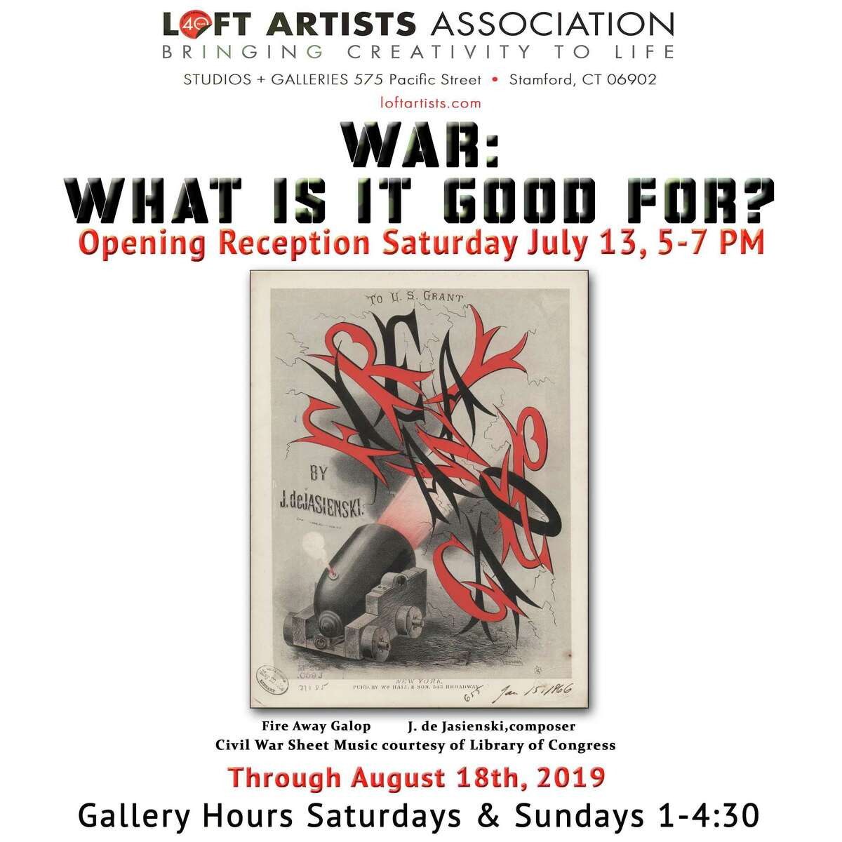 """The Loft Artists Association is hosting an exhibit for LAA member and non-member artists, """"War: What is it Good For?,""""in its Stamford galleries."""