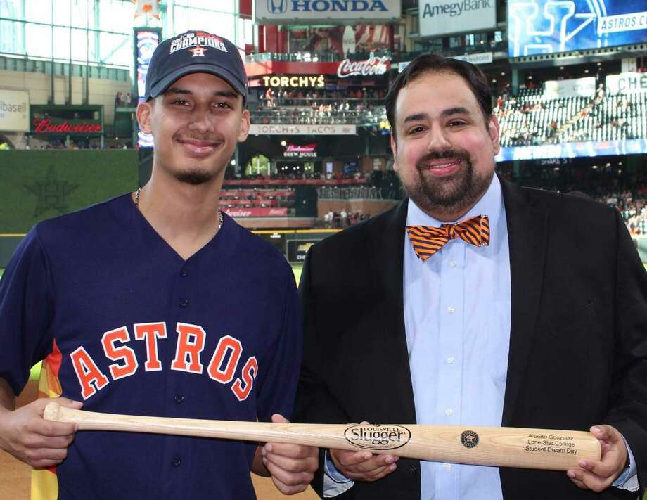 Alberto Gonzalez stepped into Minute Maid Park recently to be honored at a Houston Astros game for his academic success.Because of these achievements, Gonzalez was honored by Oscar Ramos, dean of LSC-Atascocita Center and LSC-Process Technology Center. Photo: Submitted Photo / Submitted Photo