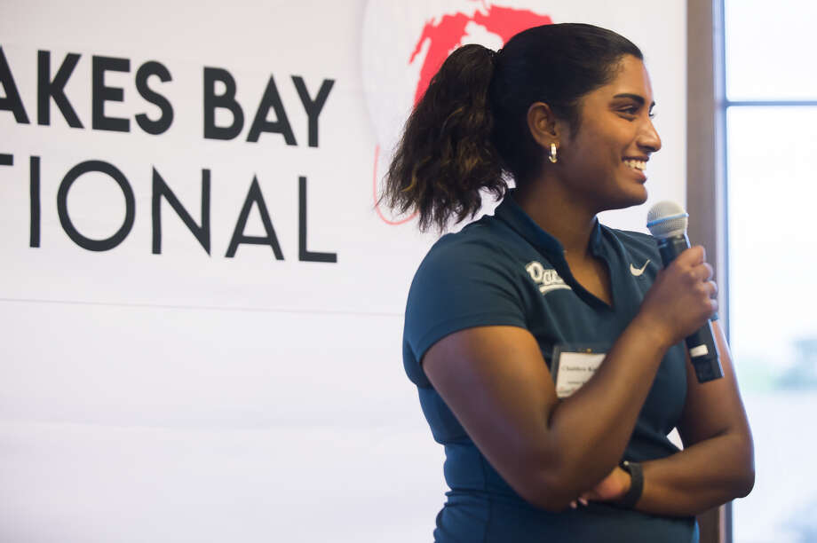 Chaithra Katamneni speaks during Monday's Dow Great Lakes Bay Invitational Media Day at the Midland Country Club. Katamneni, who moved to Midland from Dallas, Texas, last year, will compete in the inaugural GLBI with playing partner Elayna Bowser. Photo: Katykildee/kildee@mdn.net