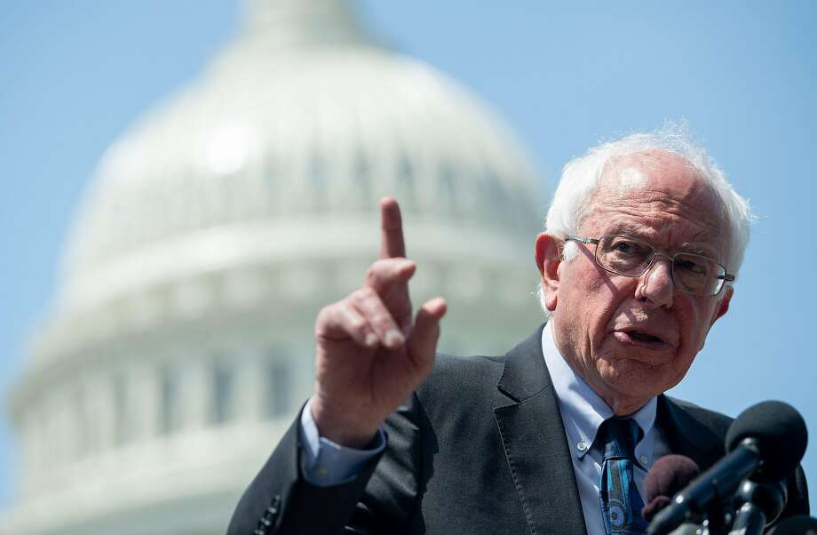 US Senator Bernie Sanders, Independent of Vermont, speaks during a press conference to introduce college affordability legislation outside the US Capitol in Washington, DC, June 24, 2019. (Photo by SAUL LOEB / AFP)SAUL LOEB/AFP/Getty Images Photo: Saul Loeb, AFP/Getty Images