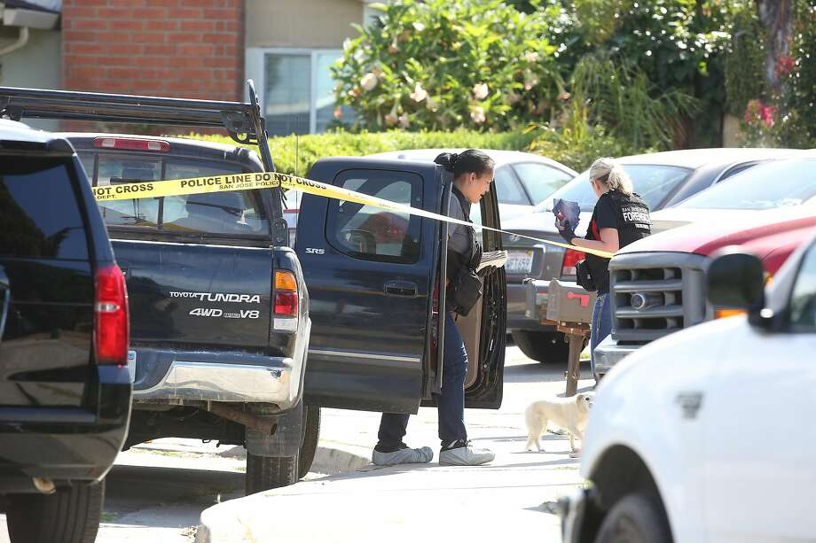 Emergency responders investigate at a truck on Habbitts Court as they work at the scene of a multiple shooting on Monday, June 24, 2019 in San Jose, Calif.  At least five people - including the suspect - have died following what San Jose police are calling a quadruple murder-suicide, which included a standoff that started Sunday night and ended early Monday morning. Photo: Lea Suzuki / The Chronicle