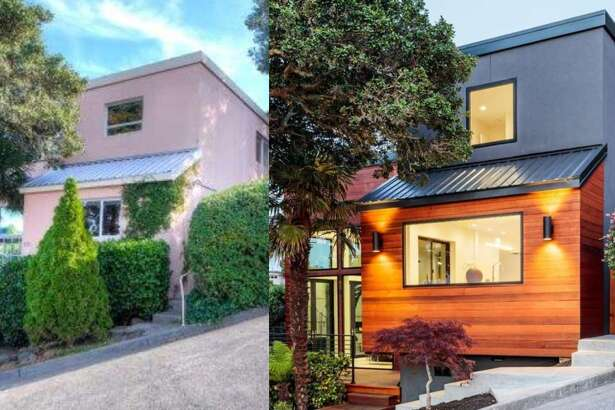 Left: The original home was built in 1983 and had a pink stucco facade. Right: The developer updated the exterior with cedar siding in a dark orange stain.