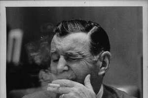 New York State Senator Earl Brydges smoking a cigarette. June 23, 1969 (Bob Paley/Times Union Archive)