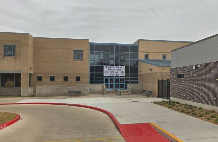The front entrance of Westbury High School is pictured. Photo: Google Maps