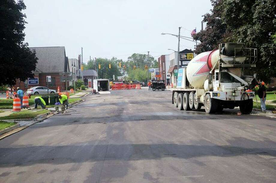 Road construction along North Port Crescent Street in Bad Axe is on schedule to be completed by Friday. (Seth Stapleton/Huron Daily Tribune)