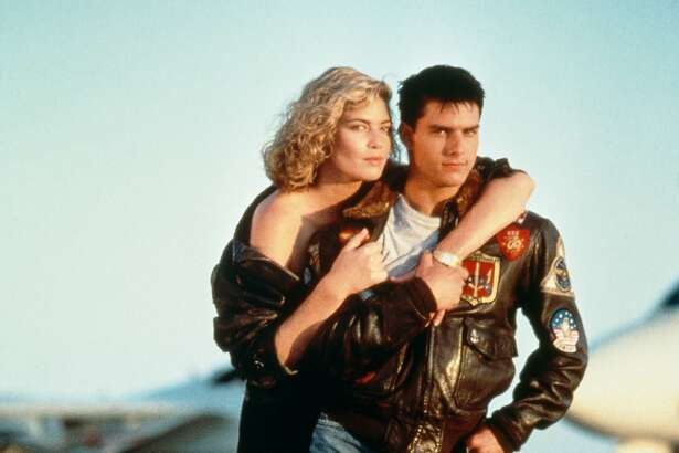 """Tom Cruise and Kelly McGillis star in the 1986 military film """"Top Gun.""""~~"""