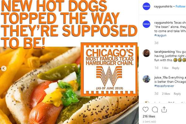 """RAYGUN joked that Whataburger would serve pizza, hot dogs, have Old Style on tap and """"Fly the W"""" after Cubs wins. But the most-hurtful jab might be the caption used for the photos: """"Now that Whataburger belongs to Chicago, we celebrate with a shirt,"""" the post reads."""