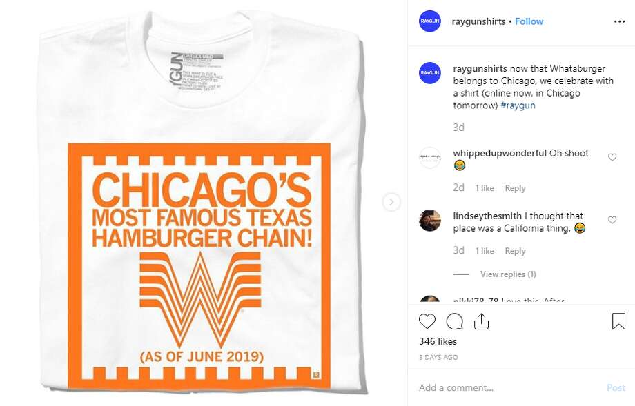 "RAYGUN joked that Whataburger would serve pizza, hot dogs, have Old Style on tap and ""Fly the W"" after Cubs wins. But the most-hurtful jab might be the caption used for the photos. ""Now that Whataburger belongs to Chicago, we celebrate with a shirt,"" the post reads. Photo: Instagram Screengrab"