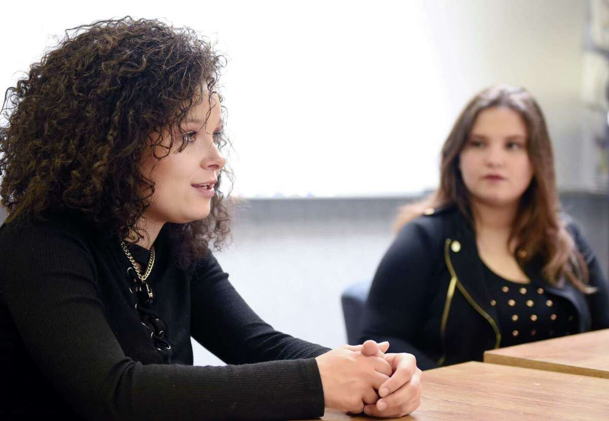 """Moriah Formica and Madison VanDenburg talk about their different singing styles during an interview on Wednesday, June 19, 2019, at Shaker High School in Latham, NY. Moriah Formica is a graduate of Shaker who made the top 20 on """"The Voice"""" and Shaker High student Madison VanDenburg made it to the final three on """"American Idol."""" (Phoebe Sheehan/Times Union)"""