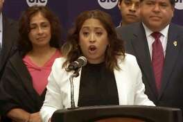 "Rep. Celina Villanueva, D-Chicago, speaks during an event Friday in Chicago during which Gov. J.B. Pritzker signed three bills into law to protect undocumented immigrants in Illinois. Villanueva said of President Donald Trump's immigration policies, ""Peddling fear and threatening immigrant communities strictly for political gain has been and continues to be empty, reckless and insulting."""