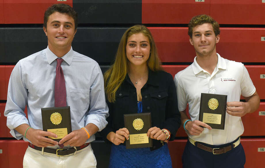 New Canaan's Joe Sikorski Memorial Award, given annually to selected Rams' seniors, was awarded to, from left, Quintin O'Connell, Katelyn Sparks and Gunnar Granito for the 2018-19 school year. They received the award during a ceremony at NCHS on Monday, June 17, 2019. — Dave Stewart/Hearst Connecticut Media / Hearst Connecticut Media