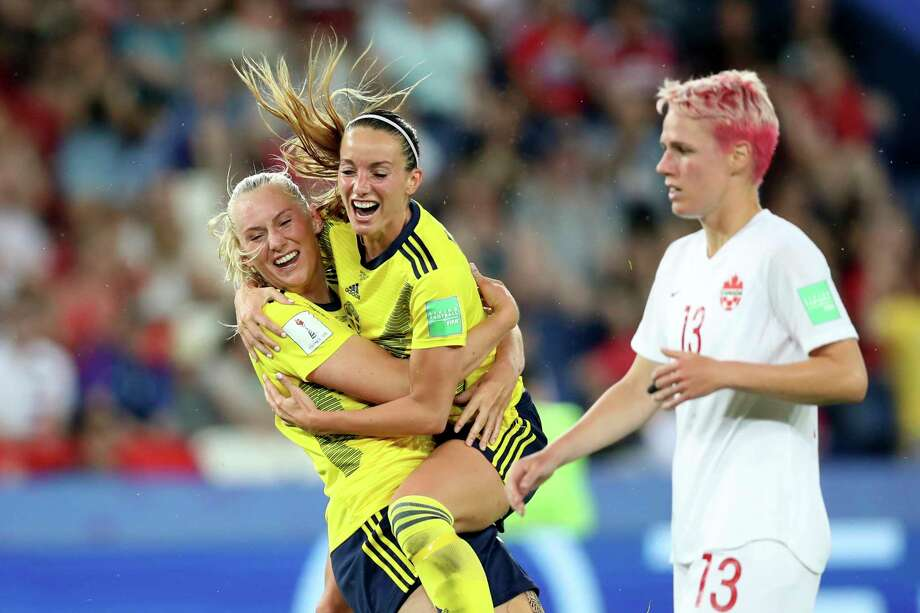 Sweden's Stina Blackstenius, left, celebrates after scoring the opening goal during the Women's World Cup round of 16 soccer match between Canada and Sweden at Parc des Princes in Paris, France, Monday, June 24, 2019. (AP Photo/Francisco Seco) Photo: Francisco Seco / Copyright 2019 The Associated Press. All rights reserved.