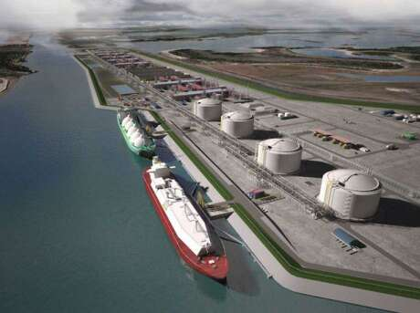 A rendering of a proposed LNG export terminal the the Houston company NextDecade. The rush to build multi-billion dollar LNG projects along the Gulf Coast and around the world demand has some analysts worried about a bubble in the making.
