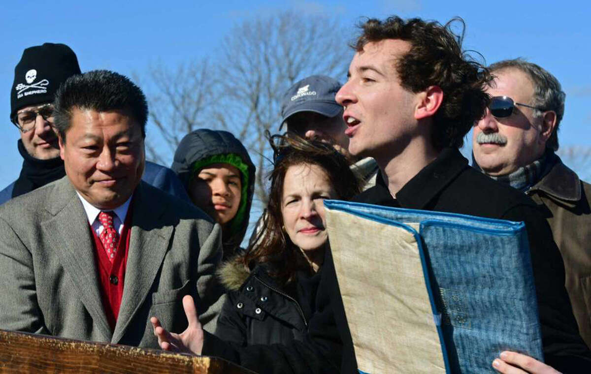 State Sen. Will Haskel, State Rep. Tony Hwang, State Rep. Gail Lavielle and State Rep. Jonathan Steinberg tout a bill that would ban single-use plastic bags in CT Saturday, February 9, 2019, at Compo Beach in Westport, Conn. Erik Trautmann / Hearst Connecticut Media