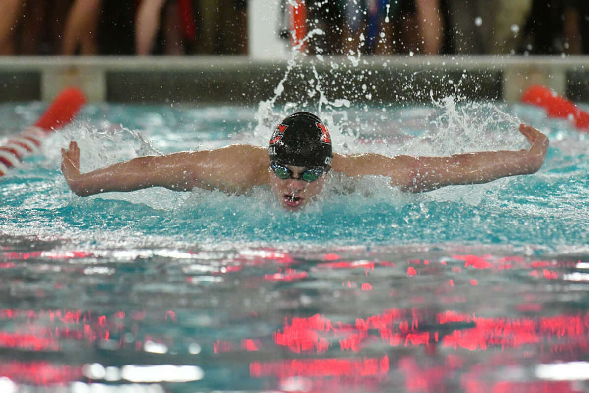 Patrick Colwell of the New Canaan Rams swims in the 200yd Individual Medley during the FCIAC Swimming Championships held on Thursday February 28, 2019 at Greenwich High School. - Gregory Vasil/Hearst Connecticut Media