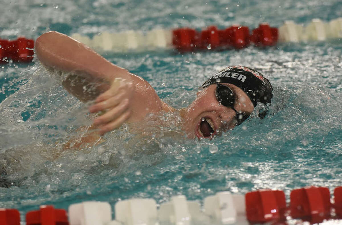 New Canaan's Jake Oehmler competes in the 200-yard freestyle at the FCIAC swim finals on Thursday, Feb. 28, at Greenwich High School. - Dave Stewart/Hearst Connecticut Media