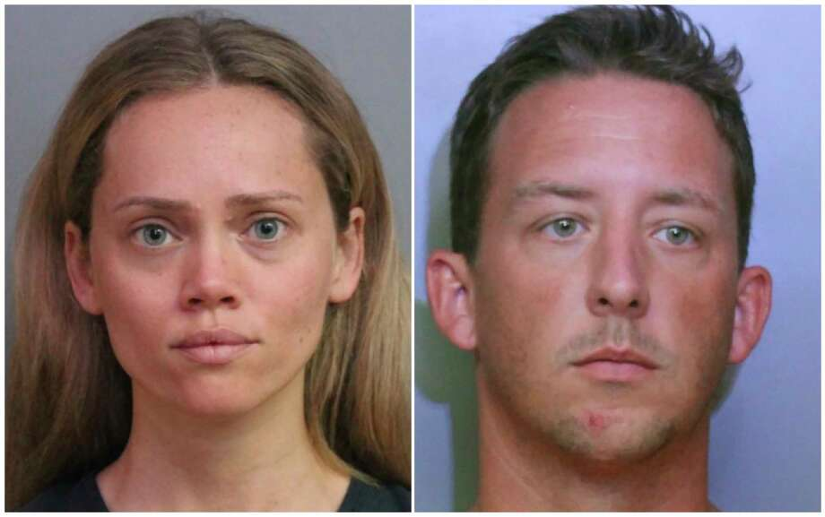 This combination of booking photos provided by the Polk County Sheriff's Office shows Courtney Irby on June 15, 2019, and her husband Joseph Irby on June 14. A Florida lawmaker and others are asking a State Attorney not to prosecute Courtney Irby who was arrested while giving her husband's guns to police after he was charged with trying to run her over. Courtney Irby spent six days in jail on charges of armed burglary and grand theft after she brought the guns from her husband's apartment to the Lakeland Police. Joseph Irby was spending one day in jail at the time, accused of trying to run her over.   (Polk County Sheriff's Office via AP) / Polk County Sheriff's Office