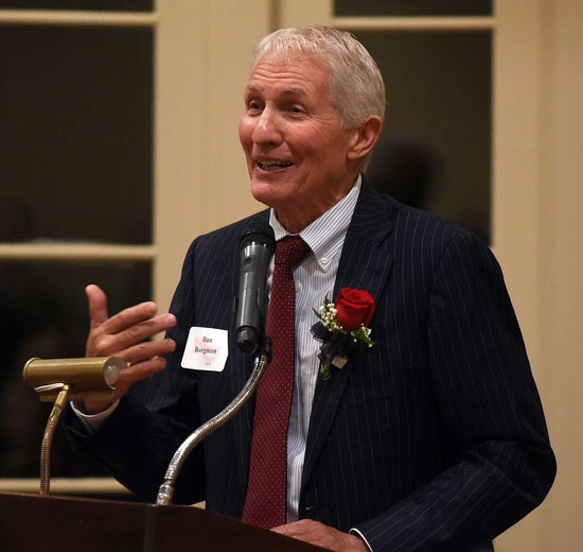 Dan Borgman at the podium during the NCHS Hall of Fame Awards Dinner at Woodway CC on Friday, Sept. 28. - Dave Stewart photo