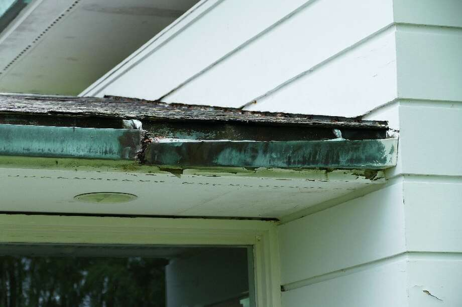 Broken gutter on Gores Pavilion.