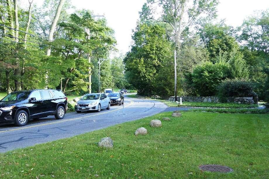 Cars head west on Gerdes Monday 8:30 a.m.
