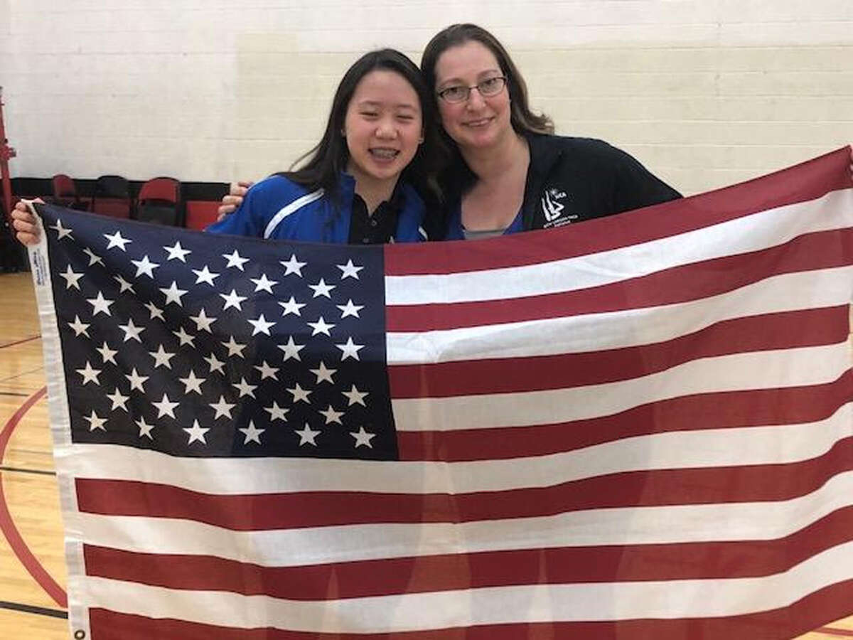 A swimmer at the New Canaan YMCA has made the national synchronized team. Olivia Li, left, of New Canaan YMCA Aquianas Synchronized Swimming Team, with the team's Director Jen Muzyk, was named to the 2019-2020 USA Junior Synchronized Swimming National Team.
