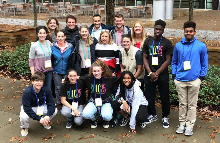Six freshman from New Canaan Country School recently attended a diversity conference. Six New Canaan Country School ninth graders attended the annual Student Diversity Leadership Conference and 10 faculty and staff attended a co-occurring People of Color conference in Nashville Nov. 28 to Dec. 1. The group included, front row, Cody Comyns, Ella Schoonmaker, Ellie Walker, Sydney Osinloye; center row, Upper School Latin teacher Hannah Liu, Upper School math teacher Jordan Alper, School Psychologist Nora Goddard, Advancement Assistant Renee Bornstein, Kindergarten teacher Jessica McKinney; back row, 6th grade teacher Brooke Kelly, 5th grade teacher Andrew Bevan, Spanish teacher Glenn Rodriguez, Athletic Co-Director Stefan Borowski, 2nd grade teacher Emily Anglund, Anthony Crossman, and Mason Pratt. — Contributed photo