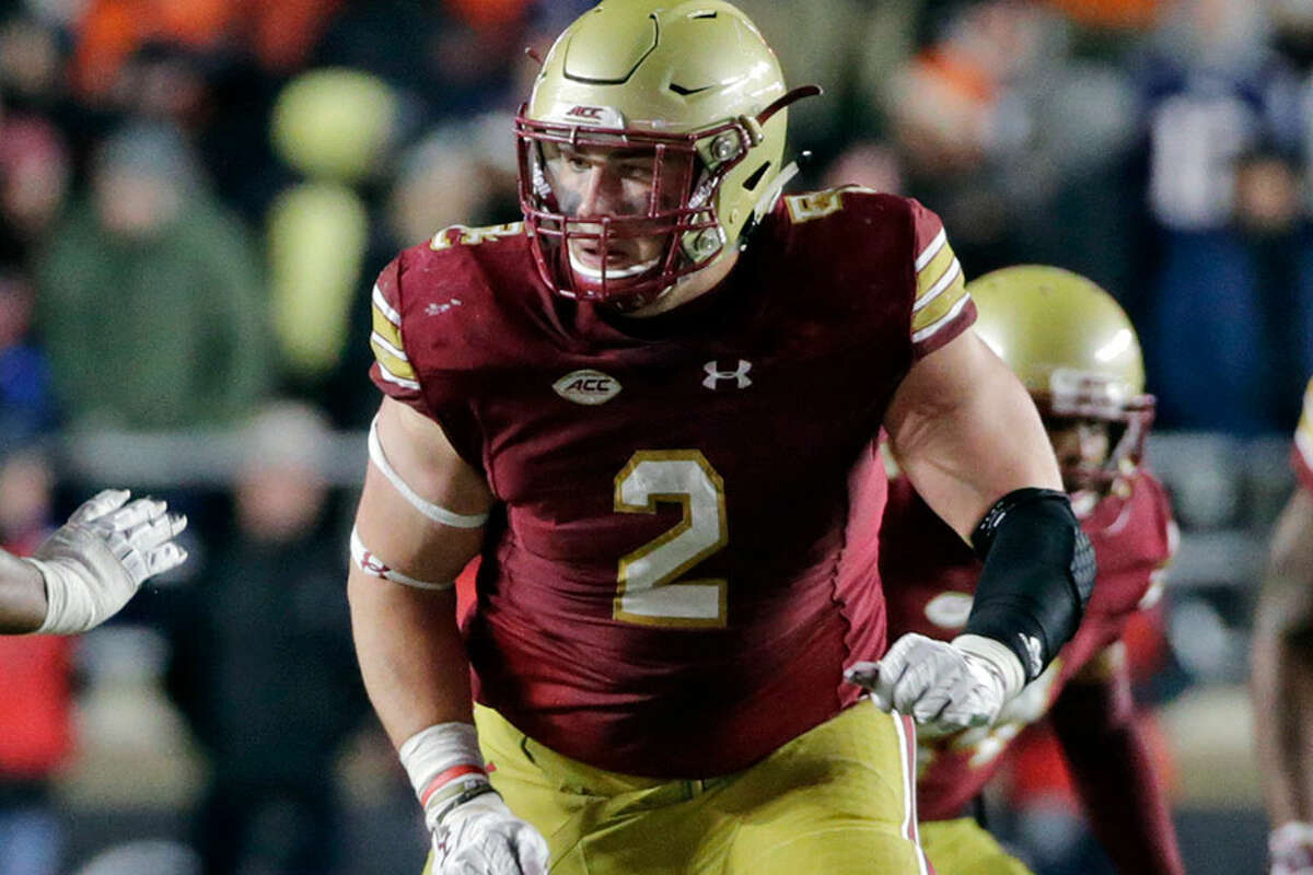 Boston College defensive end Zach Allen (2) in action during a game against Clemson in November. - AP Photo/Elise Amendola