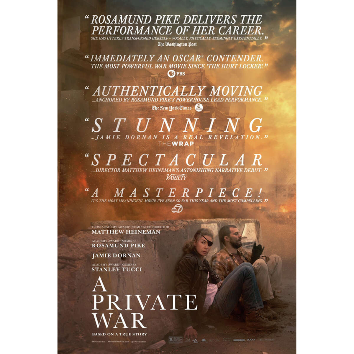 A poster for A Private War, a movie produced and directed by New Canaan Country School graduate Matthew Heineman.