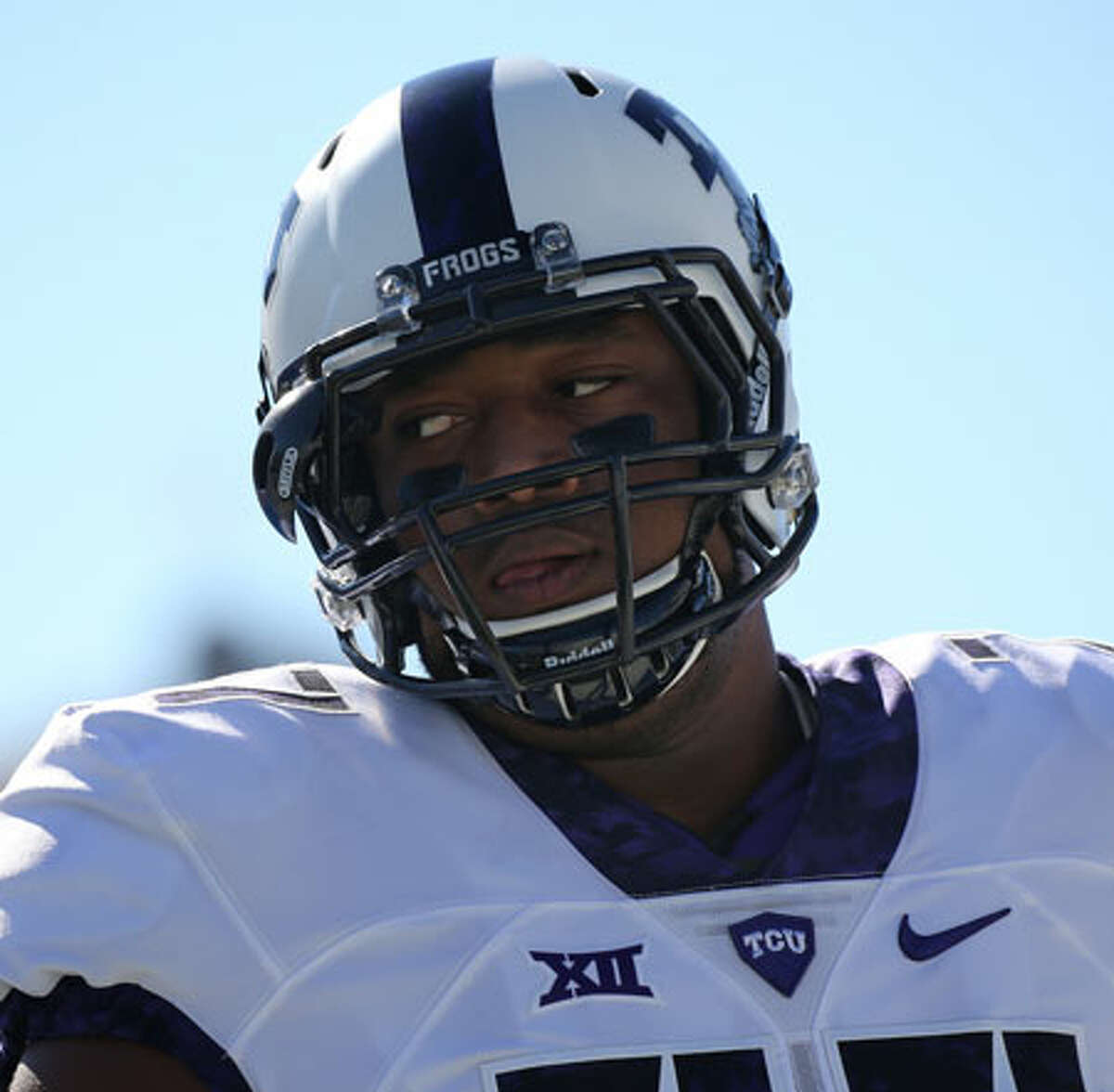 TCU Horned Frogs offensive lineman Lucas Niang. - Photo by Scott Winters/Icon Sportswire via Getty Images