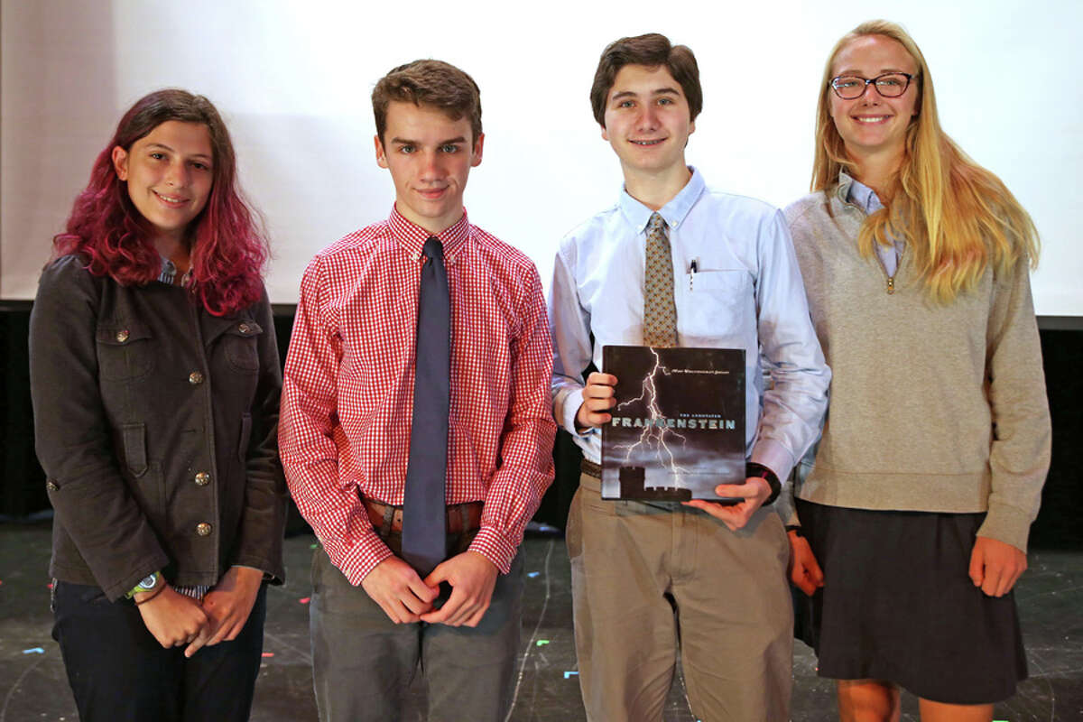 New Canaan: The St. Luke's School's writing contest recently marked Frankenstein's bicentennial. Winners of the Ghostwrite contest at St. Luke's School marking the 200th anniversary of Frankenstein were, from left, Liz Fleischer, Jackson Hart, Marco Volpitta and Kendall Boege. - Photo by Valerie Parker