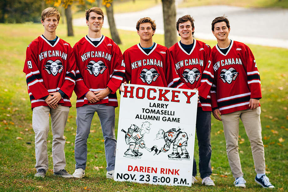 New Canaan boys ice hockey co-captains Turner Ives, Shane Pickering, Gunnar Granito, Walker Ker, and Jack O'Hare will face off against former Rams stars in the annual Alumni Game on Nov. 23 at the Darien Ice House.