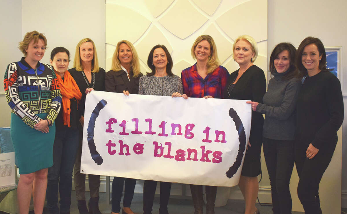 New Canaan: Bankwell, and Filling in the Blanks is rolling out a backpack drive. From left, Lucy French, AVP & marketing manager at Bankwell, FIB holiday backpack committee members, Pat Klapper, Neely Leslie, Beth Allsteadt, Roseann Conheeney, Jenny Volanakis, Laura Waitz, EVP & chief of Staff at Bankwell, FIB co-founders, Shawnee Knight and Tina Kramer.