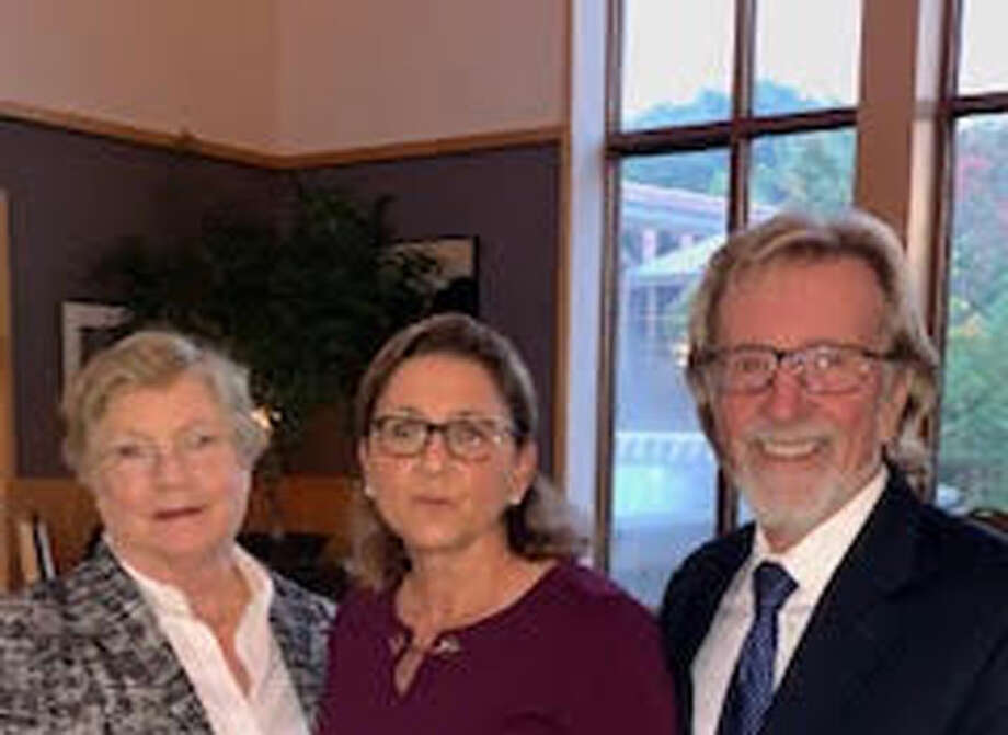 New Canaan: A resident, and a company founder recently attended a women owned business conference. From left, Tuck School Professor Kathleen McGahran, Brenda McKenna, CEO of BCM Media and Tuck School Professor Leonard Greenhalgh. — Contributed photo