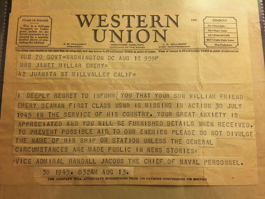 William Friend Emery in New Canaan, spring 1945. Below, telegram stating he was missing in action, August 1945.