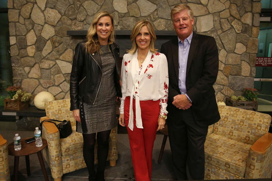 "New Canaan: Parents at St. Luke's recently heard from ""brand"" executives. From left, Gail Tifford, Alisyn Camerota, and Charlie Denson at St. Luke's The Power of Brand. — Photo by Valerie Parker"