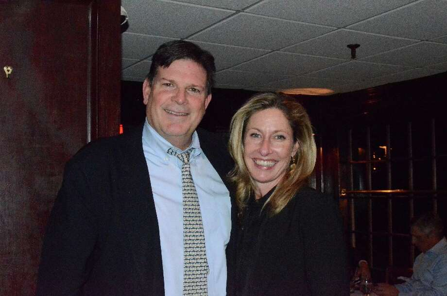 New Canaan's surviving Republican representative in Hartford, Tom O'Dea, with his wife Kerry at a post-election party Tuesday night. — Greg Reilly photo