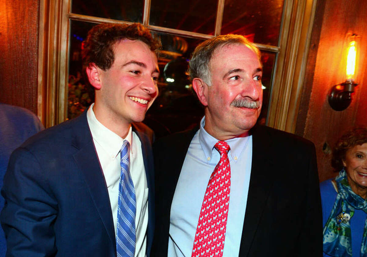 Democrat Will Haskell, left, stands with State Rep Jonathan Steinberg during a post election party at the Little Barn in Westport. - Christian Abraham/Hearst Connecticut Media photo