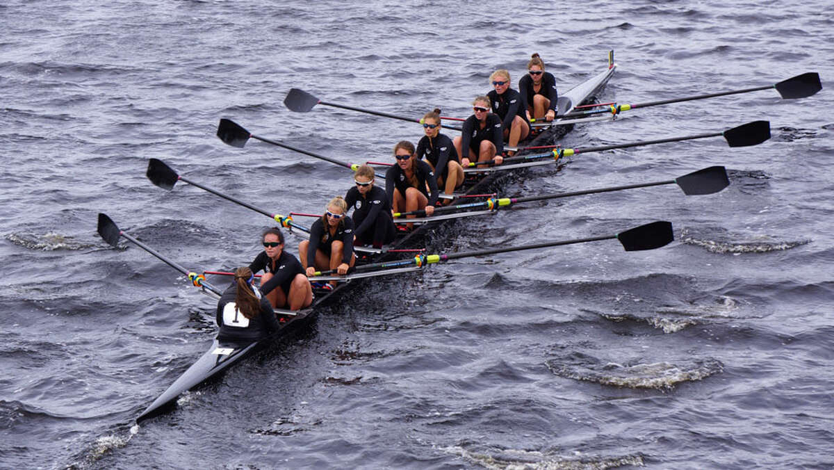 The SRC's Women's Youth 8+ on its way to victory for a record fifth time at the Head of the Charles Regatta.
