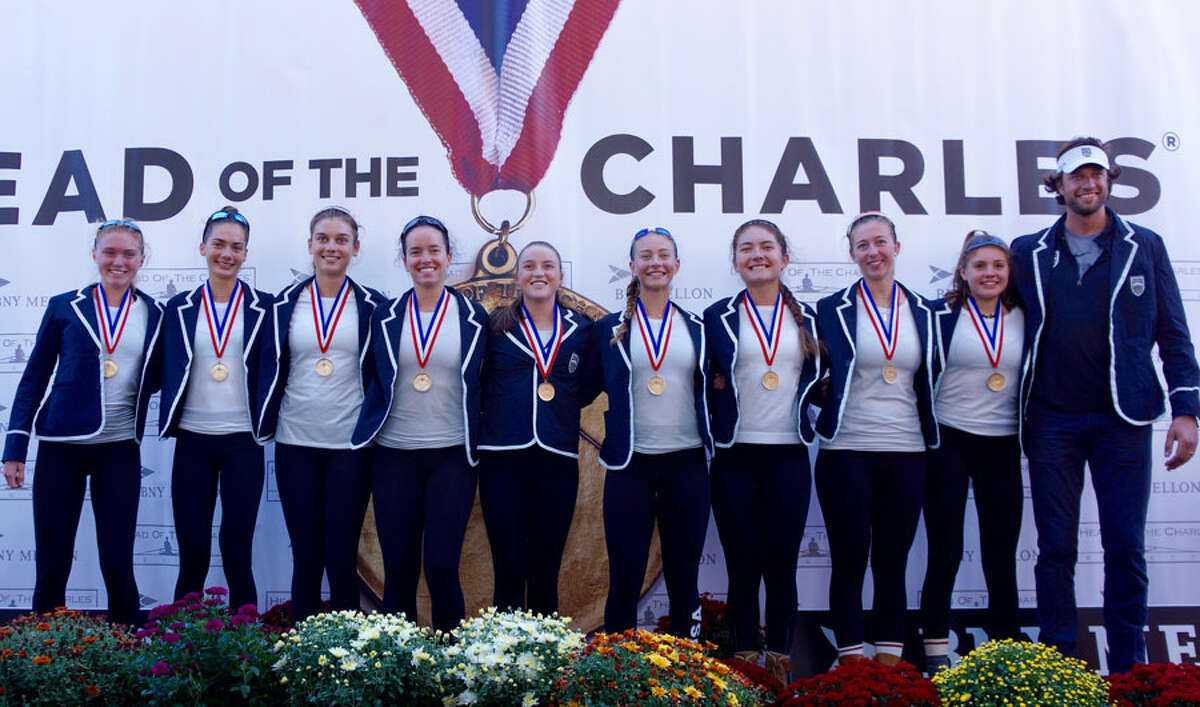 The Saugatuck Rowing Club's Women's Youth 8+ on the podium after winning their race at the Head of the Charles Regatta on Oct. 22. From left are Katie Roland, Anella Lefebvre, Parker Cuthbertson, Caitlin Esse, Honor Heisler, Isabel Mezei, Noelle Amlicke, Justine McGuire, Bonnie Pushner and head coach Gordon Getsinger.