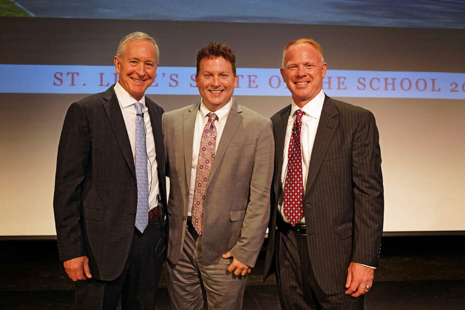 """New Canaan: A Language chair recently received a """"Distinguished Faculty"""" award at St. Luke's School. From left, St. Luke's Mark Davis, Jon Shee and Board of Trustees President James Andersen. — Photo by Desiree Smock / St. Luke's School"""