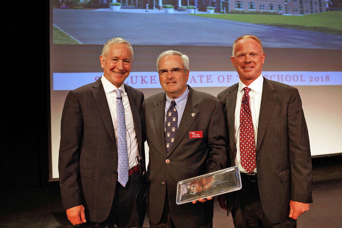 From left, St. Luke's Mark Davis, Peter Seldin and Board of Trustees President James Andersen. - Photo by Desiree Smock