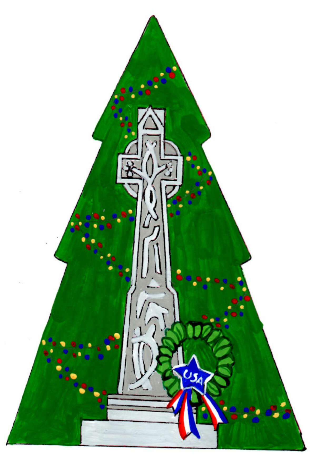 Illustration for Wayside Cross ornament. Inked details are added after the painting is completed. - Contributed photo