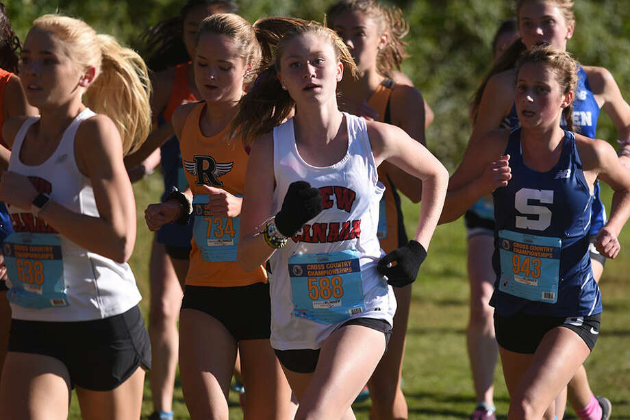 The Rams' Sophie Curcio stays in stride during the FCIAC girls cross country championships on Oct. 18 in Waveny Park. — Dave Stewart photo